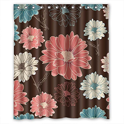 (MaSoyy Width X Height / 60 X 72 Inches / W H 150 By 180 Cm Flower Bathroom Curtains Polyester Fabric Ornament And Gift To Kids Girls Boys Lover. Anti Bacterial)