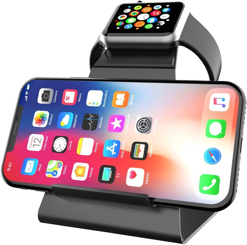 XUNMEJ iWatch Stand Holder, Aluminum NightStand Apple Watch & iPhone Universal Desktop Charging Station for iWatch Series 5 4 3 2 1 iPhone 11/11Pro/11Max/Xs/Xs Max/XR/X/8/8P/7/7Plus (Black)
