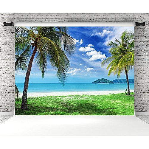 7x5ft Tropical Beach Photography Backdrops Blue Sk...