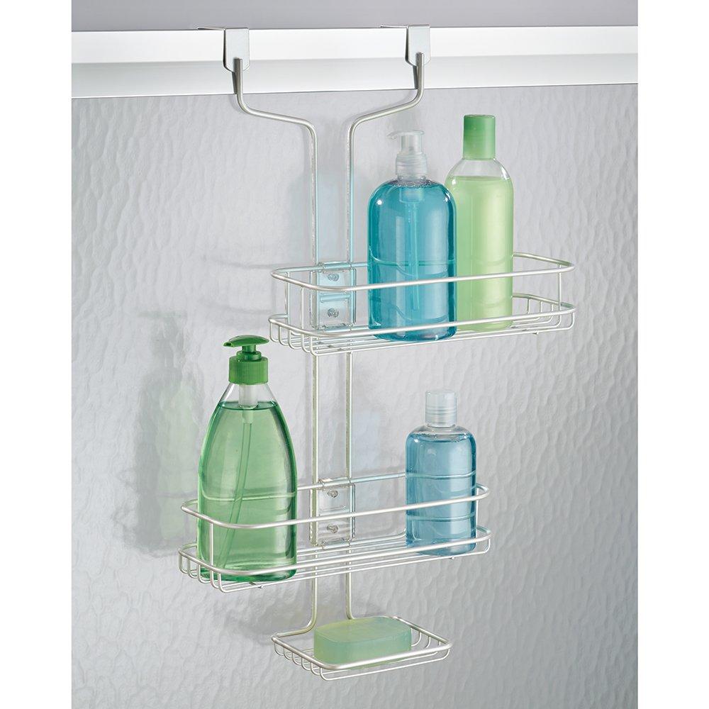 Amazon.com: mDesign Adjustable Over-the-Door 2 Shelf Shower Caddy ...