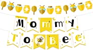 NICROLANDEE Bee and Honey Baby Shower Banner Mommy To Bee Paper Garland for Bumble Bee Gender Reveal Party Bumblebee Themed B