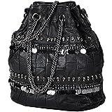 Win8Fong Women's Rivet Tassels Handbag PU Leather Crossbody Bag Black