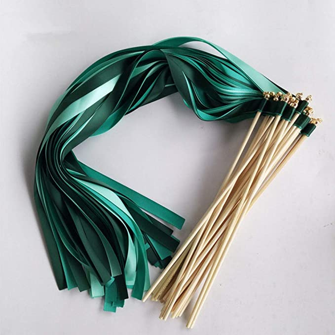 20 Wedding Ribbon Wands-Dark Green /& Ivory with gold bell-Party Celebration