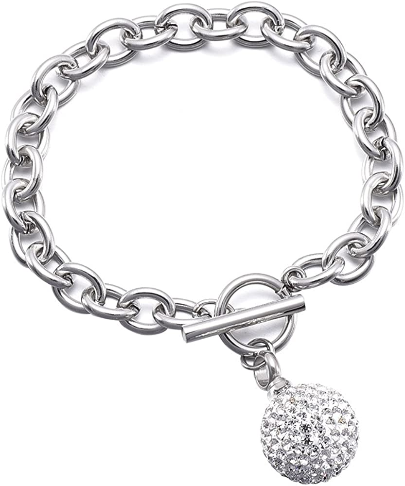 Clear Crystal Ball Cremation Urn Bracelet Memorial Ashes Stainless Steel Chain Bracelet Cremation Jewelry