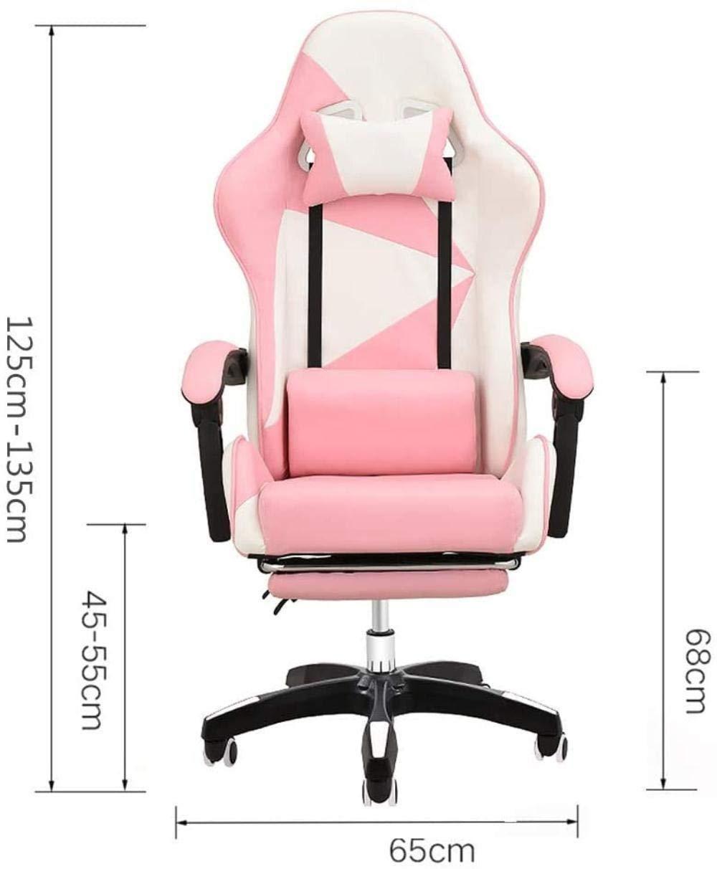 Spelstolar, dator E-sport stol spelstol hem lat liggande kontorsstol knästol (färg: Rosa) Rosa