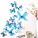 Wall Sticker,SMTSMT 12pcs Decal Home Decorations 3D Butterfly Rainbow (Blue)