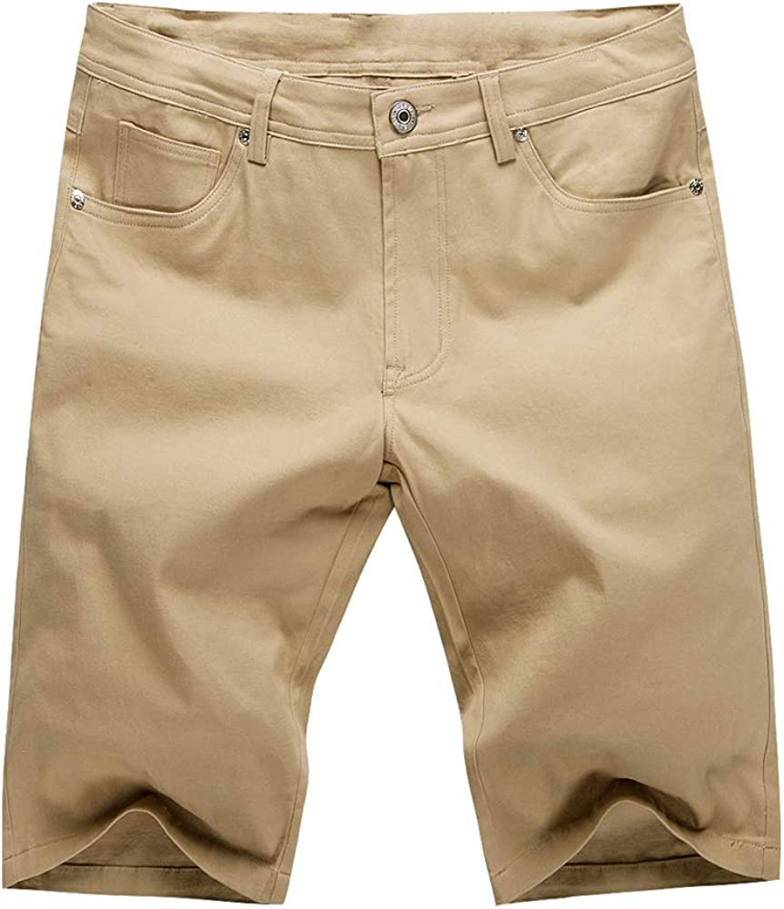 MOTOR CASUAL Mens Super Comfy Classic Fit Flat Front Stretch Solid Chino Deck Shorts with Zipper Closure