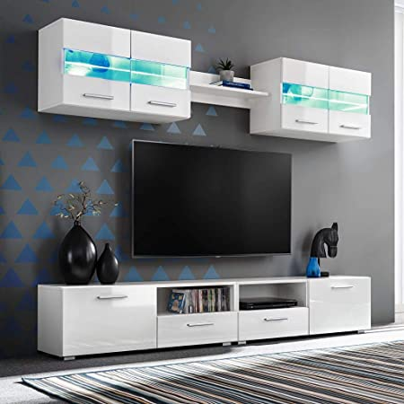 Tidyard 5 Piezas Mueble Salón Comedor Moderno Mesa para TV Mueble TV de Pared con LED y Puertas Plegables Estilo Contemporáneo Blanco Brillante: Amazon.es: Hogar