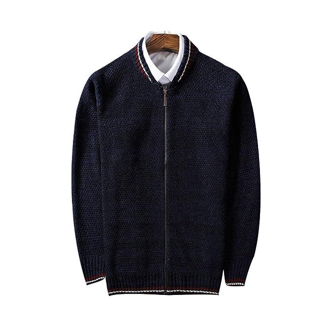5c48fb00b1cb ZKOO Hombres Chaqueta Cárdigan de Punto Calentar Jersey Suéter Tejido de  Punto Casual Otoño e Invierno Azul: Amazon.es: Ropa y accesorios