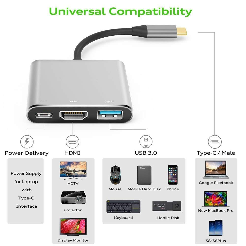 Mac Pro13 15 USB C to HDMI Digital Multiport Hub Adapter Note9 Sky Gray 2016 2017 Google Chromebook Aeifond Type-C to HDMI 4K Adapter with USB 3.0 USB-C 3.1 Power Delivery for MacBook12