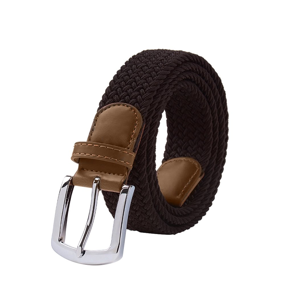 Maikun Braided Elastic Stretch Woven Belt with Leather Tip Nickle Pin Buckle belt1198-grey-125
