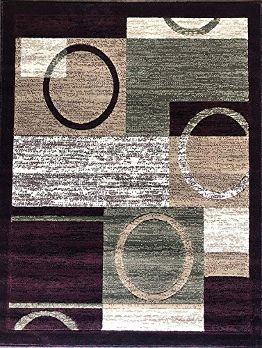 Americana Modern Area Rug Contemporary Burgundy & Green Contemporary Geometric Design 1497 (8 Feet X 10 Feet 6 Inch)