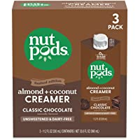 nutpods Classic Chocolate (3-Pack), Unsweetened Dairy-Free Creamer, Made from Almonds and Coconuts, Whole30, Keto…