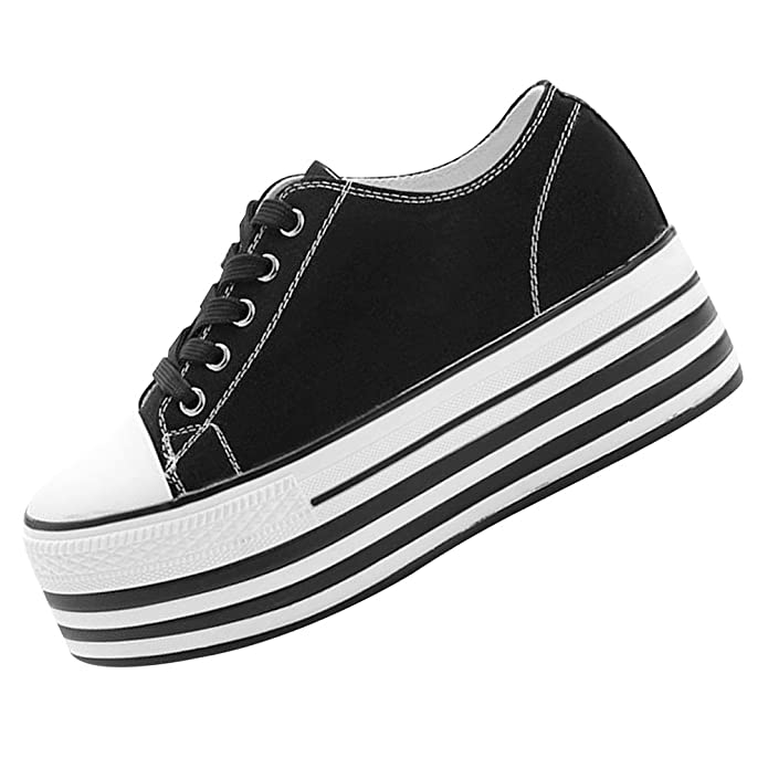 Amazon.com | rismart Women Double Outsoles High Platform Canvas Shoes Low Wedge Heel Lace Up Creepers Fashion Sneakers | Fashion Sneakers