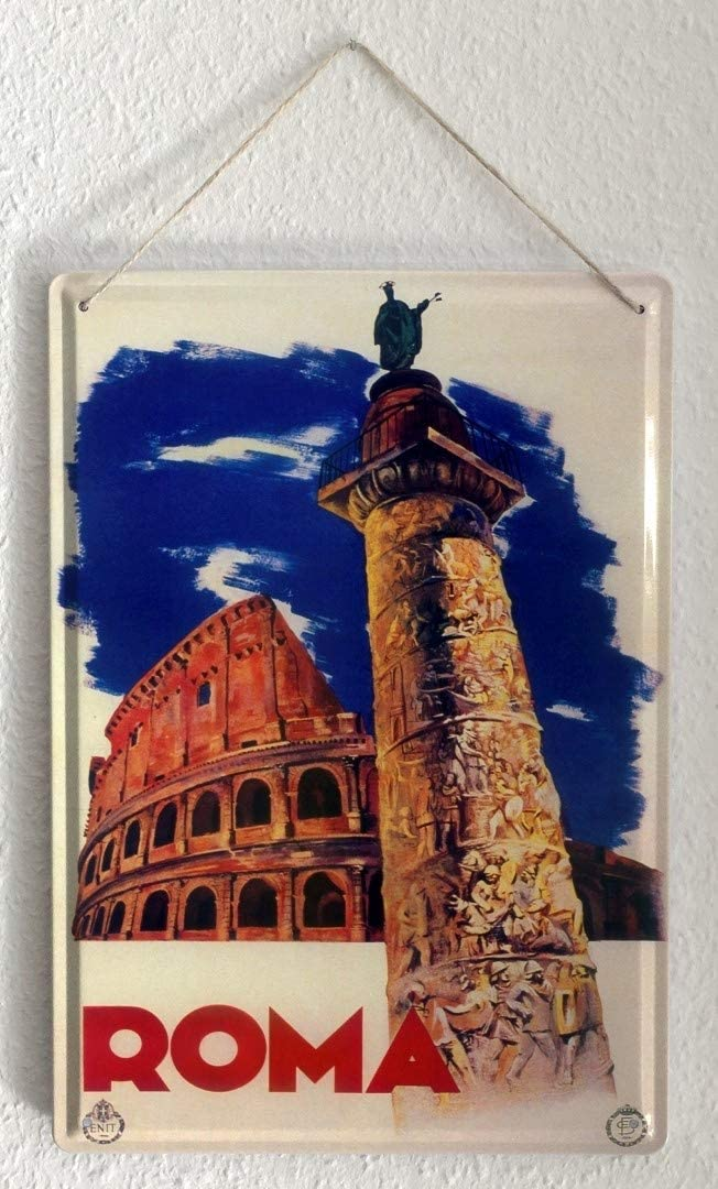 LEotiE SINCE 2004 Plaque en M/étal M/étallique Poster Mural tin Sign Nostalgie du Voyage Ville Rome