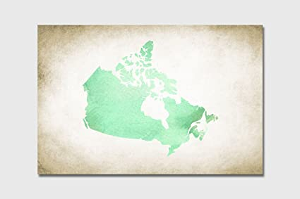 Amazon.com: PrintFactory 32x48 Green Watercolor Canada Map, Country ...
