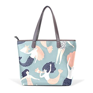 a90f882f1e Image Unavailable. Image not available for. Color  Womens Handbags Casual  Mermaid Purses Shoulder Bags Big Capacity Satchel PU Leather Multi-Pocket  Tote