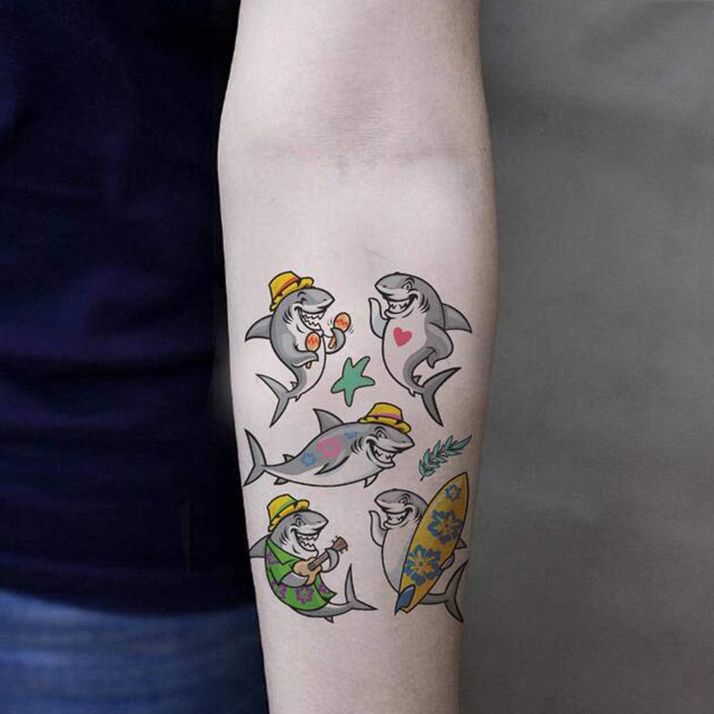 SZSMART Tiburón Tatuajes temporales Sirena Tatuajes Falso Tatuaje ...