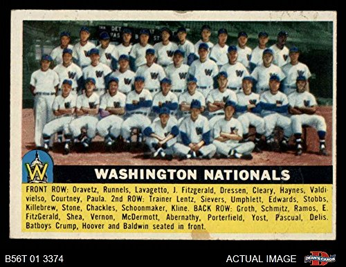 1956 Topps # 146 WHT Senators Team Washington Senators (Baseball Card) (White Back) Dean's Cards 5 - EX Senators