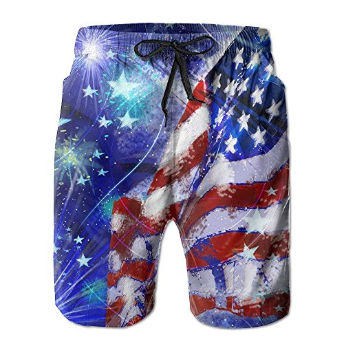 Men's Happy 4th July USA Flags Summer Water Sports Beach Shorts