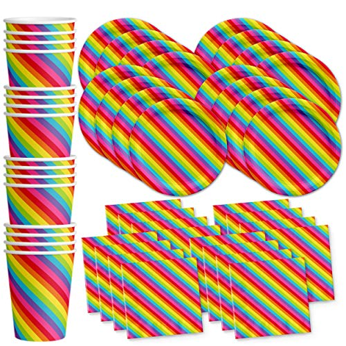 Rainbow Birthday Party Supplies Set Plates Napkins Cups Tableware Kit for -