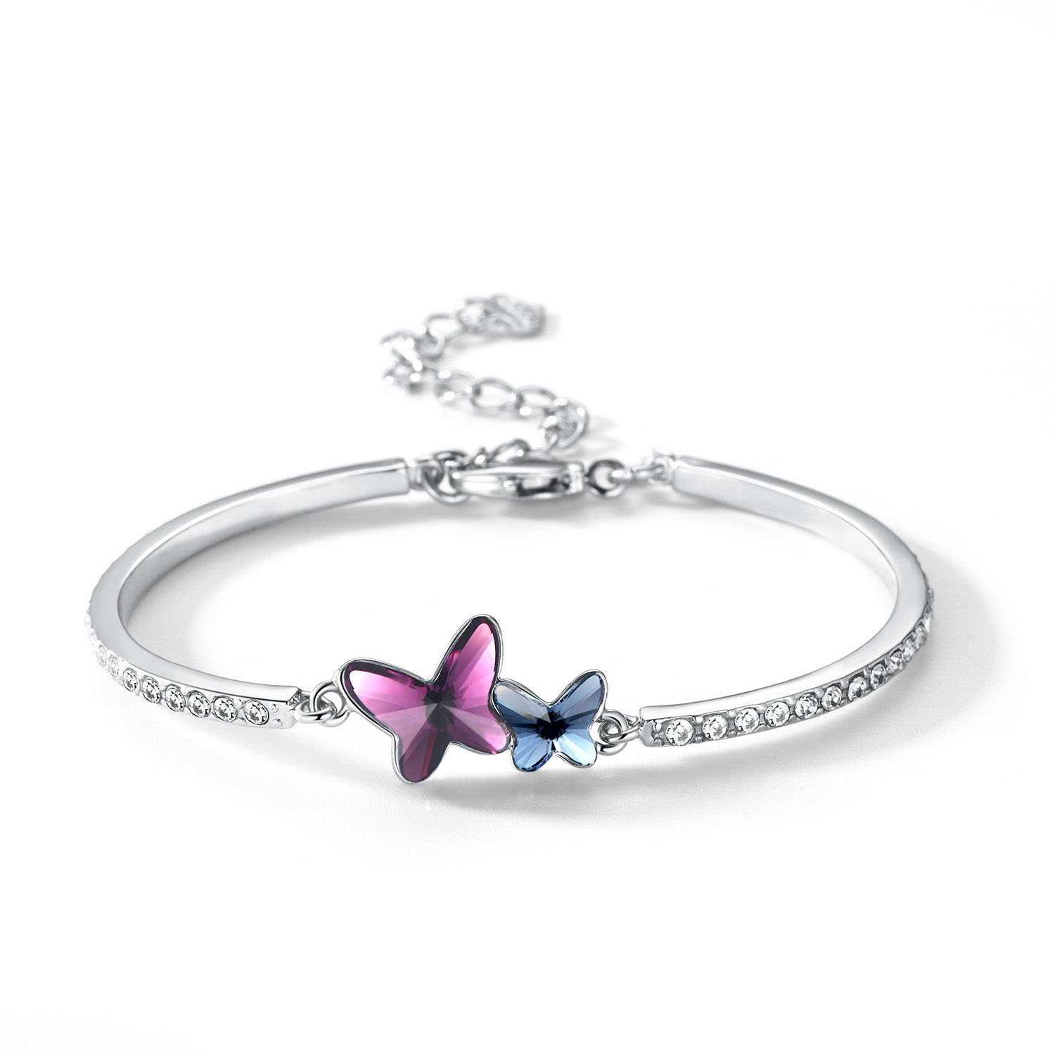 T400 Butterfly Bangle Bracelet, Jewelers Dream Chasers Bracelet Made with Swarovski Crystals (Purple, Eco Alloy)