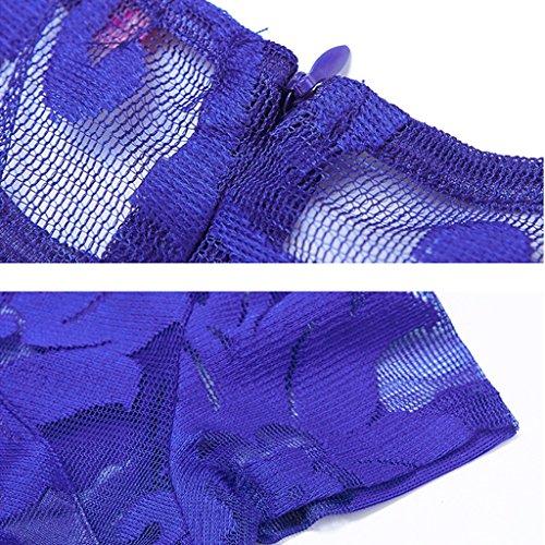 Plisada Oscuro Las Xl Resort Azul S Wang Mujeres Ocio Cintura De Vestidos Oscuro color xxl Alta Encaje Beach Vestido Tamaño Hueco Corta Verano Noche Manga 001gt
