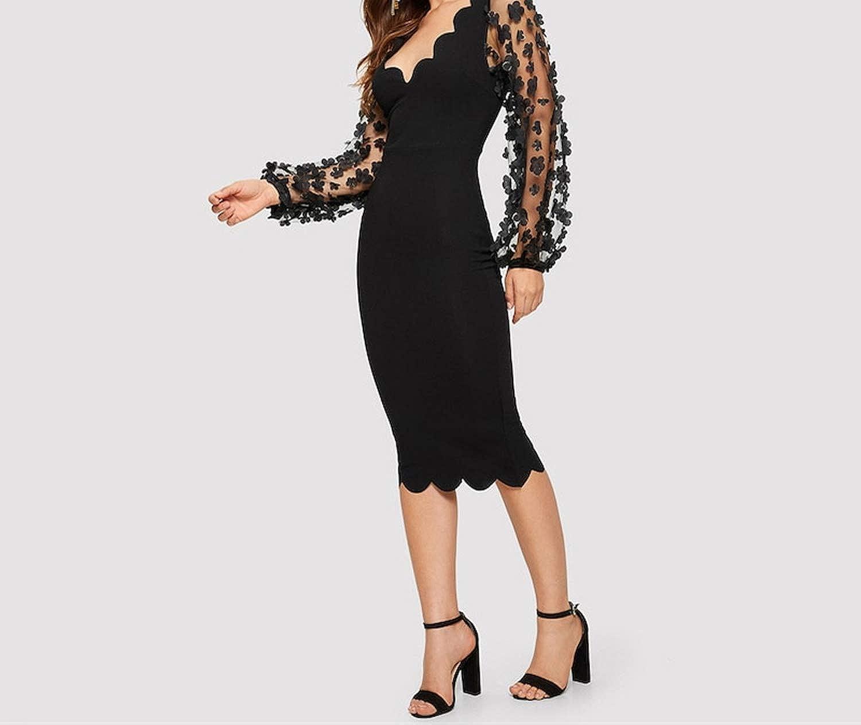 Black Solid Applique Mesh Sleeve Scallop Edge Elegant Dress Women V Neck Lace Bodycon Midi Dresses