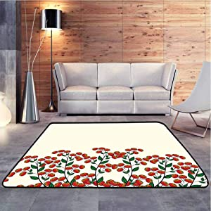 Floor Mat Clusterberries in Bush Leaves Garden Christmas Theme Image Print Olive Green Red and Soft Indoor Large Modern Area Rugs Environmental Protection Fabric, 5 x 8 Feet