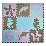 Meitoku Kids Foam Puzzle Play Mat -Marine life Theme- Floor Tiles (3' x 3') (Coffee,Purple,Sky Blue)