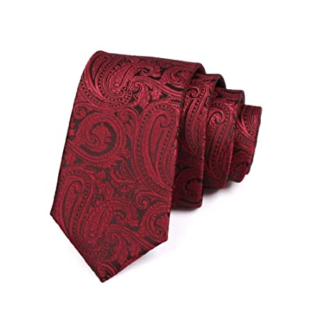 GuanBen Corbata de Hombre, Vino Rojo, poliéster Tejido Paisley 6 ...