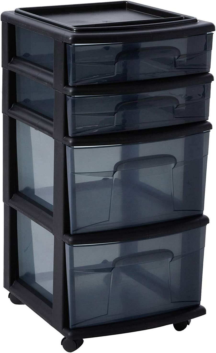 HOMZ Plastic 4 Drawer Medium Cart, Black Frame with Smoke Tint Drawers, Casters Included, Set of 1: Home & Kitchen