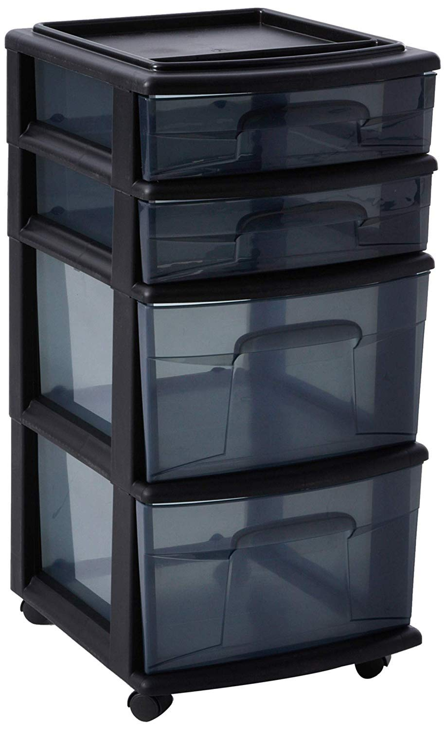 HOMZ Plastic 4 Drawer Medium Cart, Black Frame with Smoke Tint Drawers, Casters Included, Set of 1 by HOMZ