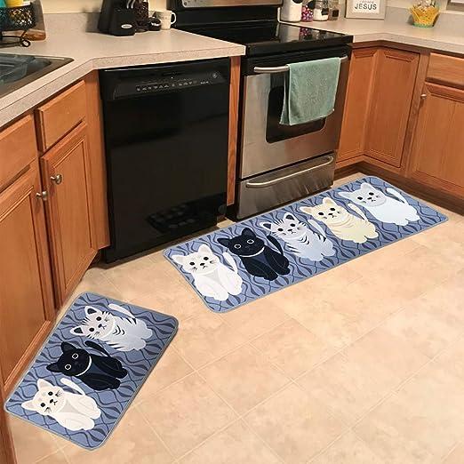 Amazon Com Leebei Kitchen Rugs Floor Mat Kitchen Mats Set Non Slip Washable Indoor Doormats Area Rugs For Kitchen Bedroom Bathroom Carpet 15 7 23 6 Inch 15 7 47 2 Inch Cats New Kitchen Dining