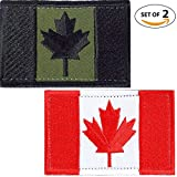 SET OF 2 (two colors ) Canada Flag Embroidered Patch Canadian Maple Leaf On Sew On National Emblem (Olive Drab and red)