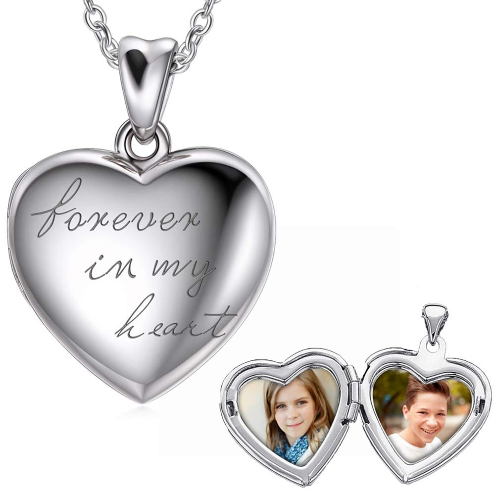 925 Sterling Silver Personalized Picture Locket Necklace Photo Heart Locket Necklace, Forever in My Heart Engraved Any Name Word Symbol Date Number (Locket + Photo) by LONAGO