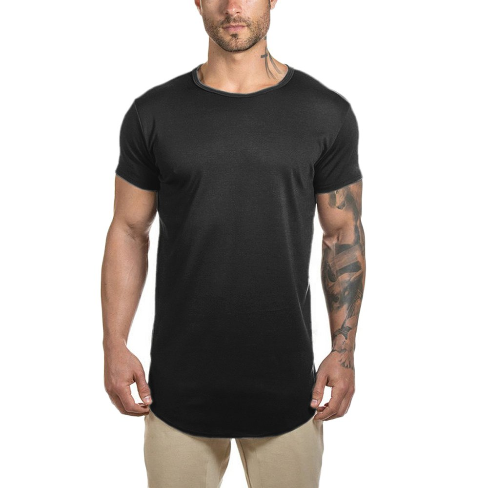 68f065d3a 95% Cotton,5% Spandex Curved hem,regular short sleeve,crewneck,extended  elong drop tail cut, back length is the same as the front,side split,pull on  closure