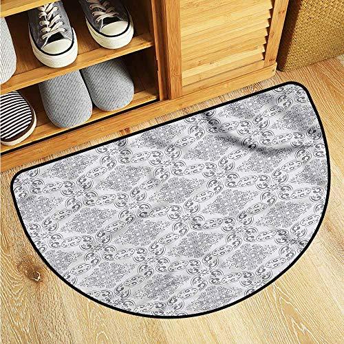 Dabuniu Semicircular Floor mat Grey Victorian Regency Tile Anti-Slip Doormat Footpad Machine Washable 24