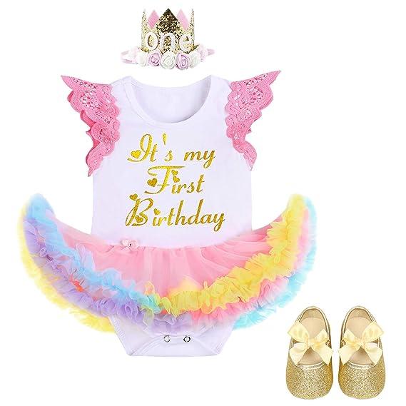 FYMNSI Infantil Bebé Niña Es mi Primer Vestido de Cumpleaños ...