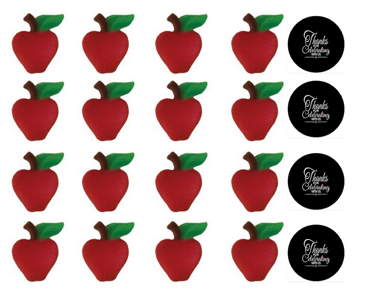 24pk Apple Sugar Decoration Toppers for Cakes Cupcakes Cake Pops with Sparkle Flakes & Decorating Stickers