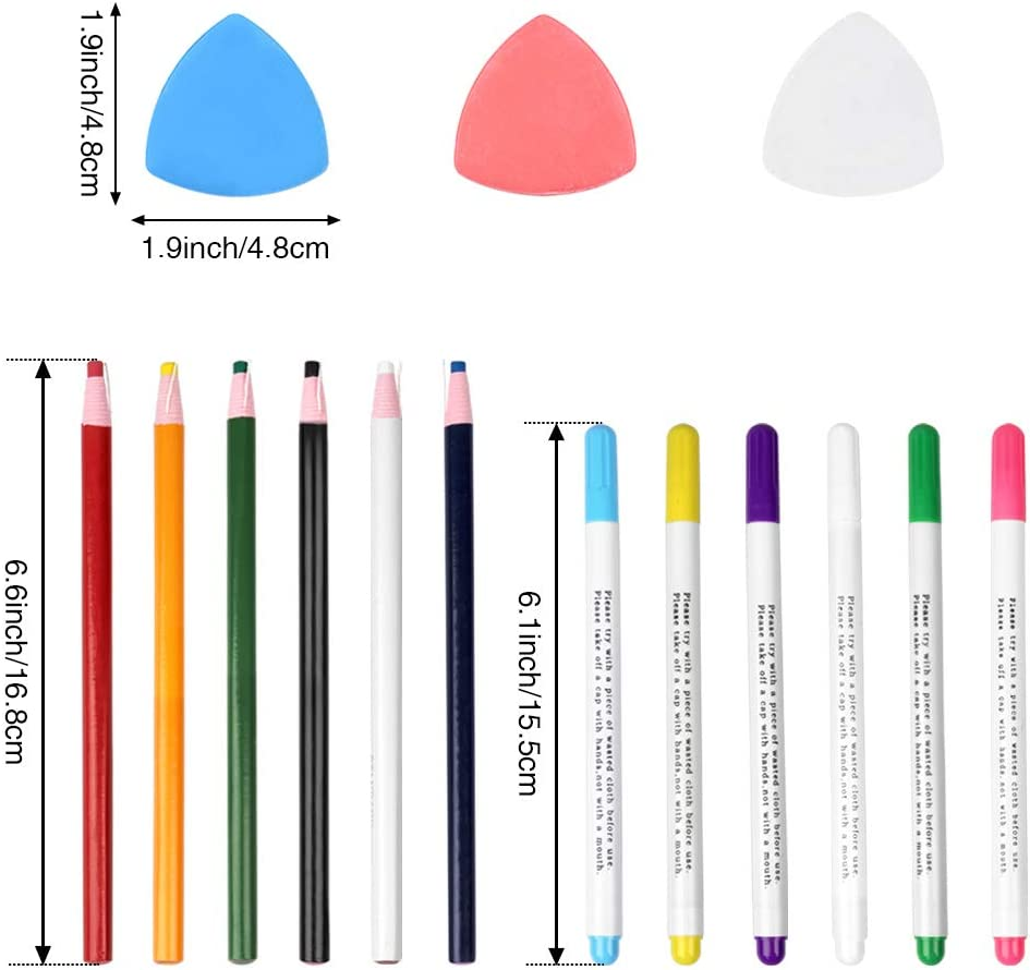 10Pcs Professional Tailors Chalk and 12Pcs Sewing Mark Pencil with 12Pcs 6 Colors Disappearing Erasable Ink Fabric Marker Pen SunFuture 34Pcs Sewing Tool Kit