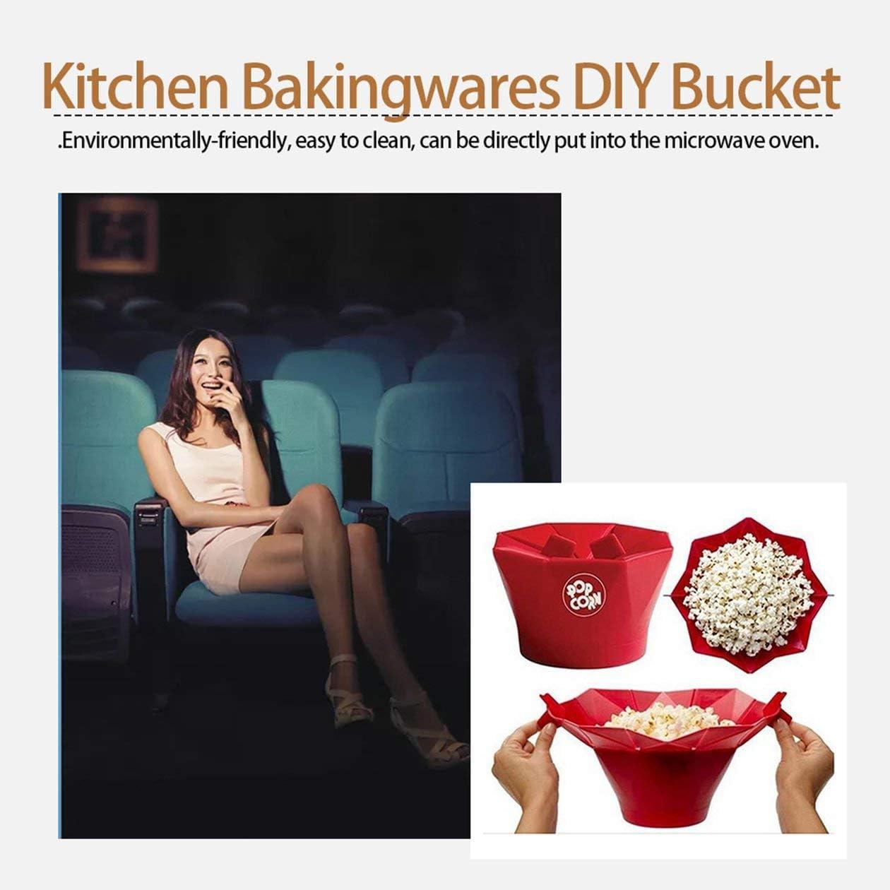 BIYI Microondas de silicona para hacer palomitas de ma/íz Popcorn Popper Hecho en casa Delicioso taz/ón de palomitas de ma/íz Herramientas para hornear Utensilios de cocina Cubo DIY Rojo