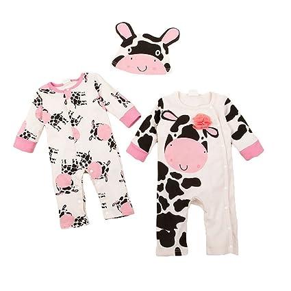 Happy cherry - Ropas para Bebés Pijamas Enteros de 3 Pcs Monos Trajecitos de Algodón Disfraces