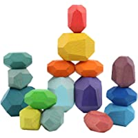 TOYANDONA 16Pcs Wooden Building Blocks Colored Stones Stacking Games for Toddlers Educational Educational Toys
