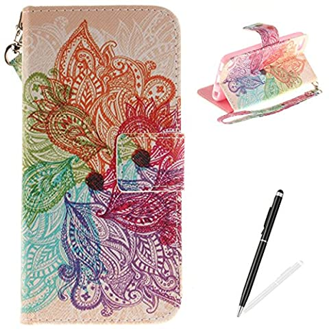 ipod Touch 5/6 Case,MAGQI Leather Case,Premium Slim PU Wallet Cover with Colorful Mandala Design Magnetic Folio Skin Shell for ipod Touch (Sparkly Girls Ipod 4 Cases)