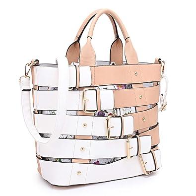 99352384e2ba Amazon.com: Dasein Women Medium Tote Purse Buckles Design Handbag Satchel  Bags Laptop Bag: Shoes