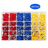 ILamourCar 480pcs Wire Terminals Crimp Connectors, 22-16/16-14/12-10 Gauge Mixed Quick Disconnect Electrical Insulated Butt Bullet Spade Fork Ring Solderless Crimp Terminals Connectors Assortment Kit