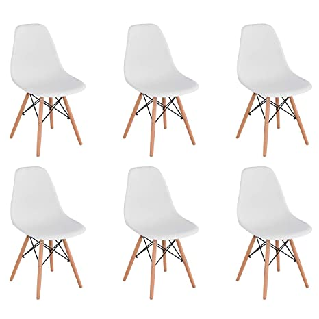 KunstDesign Set de 6 Sillas de Comedor, Diseño Ergonómico,Patas de Madera de Haya Natural (Blanco)