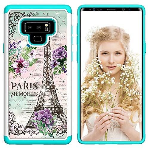 Lantier Heavy Duty Glitter Bling Hybrid Dual Layer 2 in 1 Hard Cover Soft TPU Impact Armor Defender Protective Shockproof Diamond Case for Samsung Galaxy Note 9 Paris Eiffel Tower (Case Samsung Paris 2 Note)