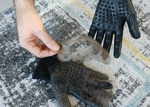SheiPet Grooming gloves - Perfect hair remover for cat, dog, horses and any pet with long, short or curly hair - soft brush and massage glove by SheiPet (Image #6)